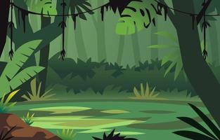 desenho animado paisagem florestal natural vetor