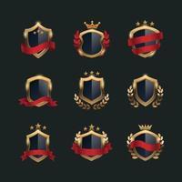 conjunto de modelo de escudo dourado vetor