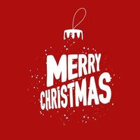 bola de árvore de natal de efeito de neve e letras de feliz natal vetor