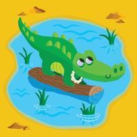 crocodilo fofo em um tronco em um lago vetor