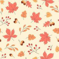 Outono sem costura padrão de folhas de laranja, bolotas e ramos vetor