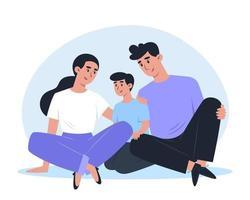 família feliz sentada no chão e se abraçando vetor