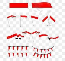coleção de imagens de ilustrações da bandeira nacional da Indonésia vetor