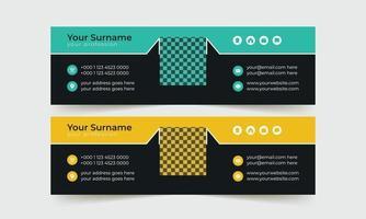 modelo de assinatura de e-mail preto e amarelo vetor