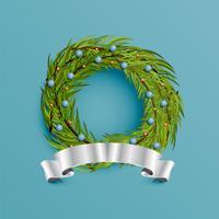 Grinalda realista com fita de ouro para o Natal, ilustração vetorial vetor