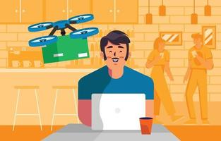 drone voador entrega pacote para cliente online vetor