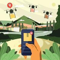 assistir on-line o status de entrega de drones no smartphone vetor