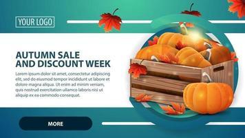 venda de outono e semana de desconto, banner com caixas de madeira vetor