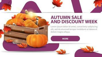venda de outono e semana de descontos, banner com caixas de abóboras maduras vetor