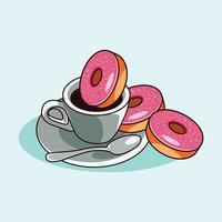 café com xícara e colher vetor