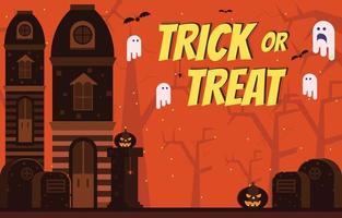 travessura ou travessura com enfeites de halloween assustadores vetor