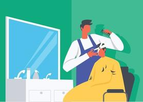 corte de cabelo em ilustração de salão vetor