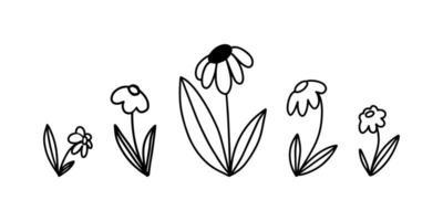 conjunto de vetores de rabiscos de flores simples desenhados à mão em contorno
