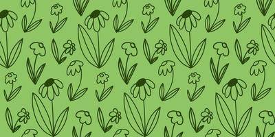 padrão sem emenda de vetor de flor doodle em contorno em verde