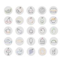 ícones de comidas, produtos e pratos de diversos países do mundo vetor