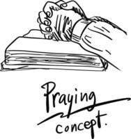close-up mão rezando no vetor bíblico