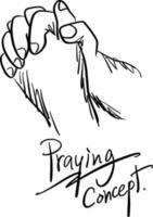 ilustração vetorial de oração de mão close-up vetor