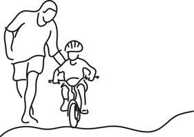 pai minimalista ensinando filha com capacete de segurança vetor