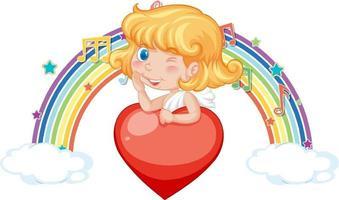 garota de Cupido segurando um coração com símbolos de melodia no arco-íris vetor