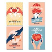 coleção de cartões conceito do dia internacional humanitário vetor