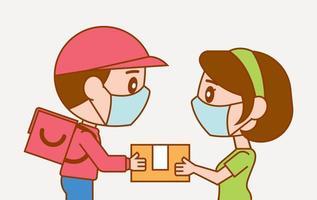 entregador dando pacote para cliente mulher com máscara protegida vetor