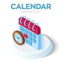 calendário com ícone de relógio. Calendário isométrico 3D com sinal de relógio. vetor
