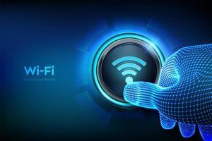 botão wi fi. conceito de conexão de rede sem fio. vetor