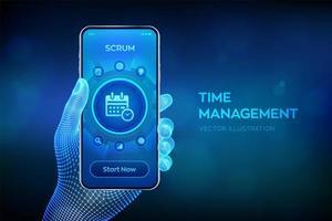 planejamento de conceito de gerenciamento de tempo, organização, tempo de trabalho. vetor