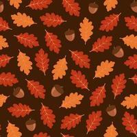 Outono sem costura padrão com folhas de carvalho e bolotas vetor