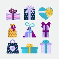 conjunto de presentes de festa coloridos com arcos diferentes vetor
