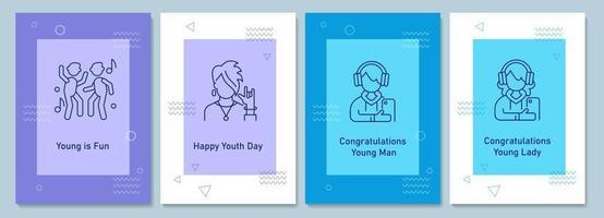 dia anual da juventude comemorando cartões postais com conjunto de ícones de glifo linear vetor