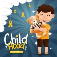 conceito do dia do câncer infantil vetor