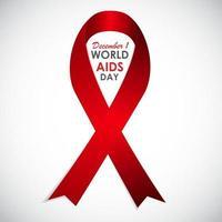 ribon vermelho - símbolo do dia mundial da aids de 21 de dezembro vetor