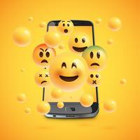 Emoticons 3D com smartphone realista, vetor illustartion