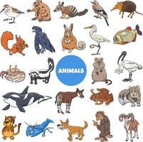 grande conjunto de personagens de animais selvagens de desenhos animados vetor
