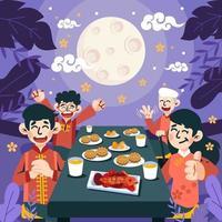 jantar chinês no festival de outono vetor