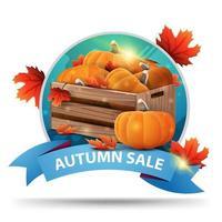 outono redondo banner de desconto com caixas de madeira de abóboras maduras vetor