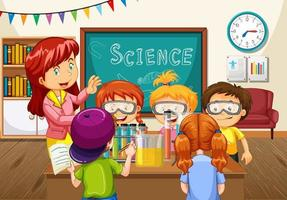 professor explicando experimento de ciências para os alunos na sala de aula vetor