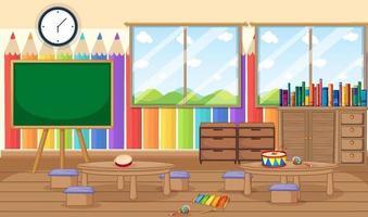 sala de jardim de infância vazia com objetos de sala de aula e decoração de interiores vetor