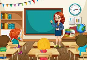 professor ensinando alunos na cena da sala de aula vetor