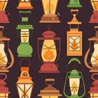 padrão retrô de lanterna a óleo em estilo simples vetor