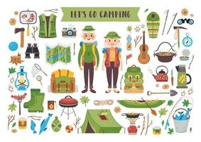 conjunto de equipamentos de acampamento. um tema turístico de vetor. vetor
