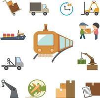 conjunto de ícones de frete e logística vetor