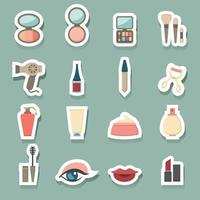 conjunto de ícones de cosméticos de maquiagem vetor