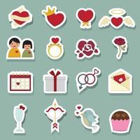 ícones do amor do dia dos namorados vetor