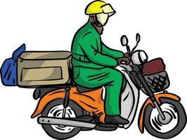 entregador enviar pedido com vetor de motocicleta