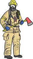 homem em ilustração vetorial uniforme de bombeiro vetor