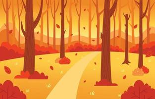 cenário de floresta no outono vetor