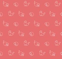 Mão desenhada gatos padrão sem emenda, ilustração vetorial vetor