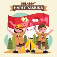 dia de pramuka indonésio com menino e menina pramuka no acampamento vetor
